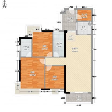 润宇豪庭3室1厅2卫1厨122.00㎡户型图