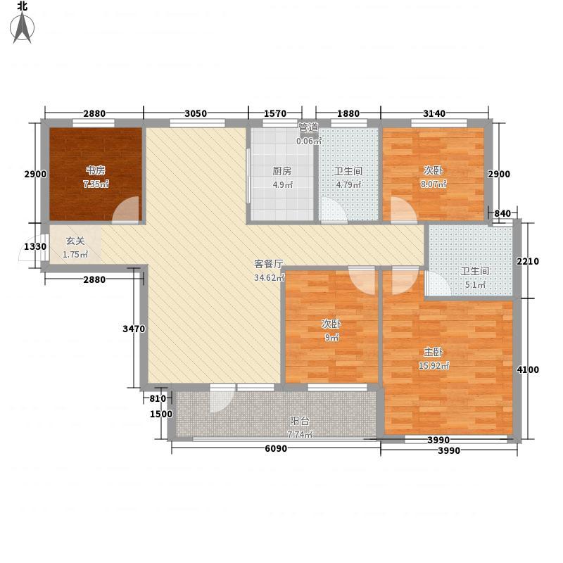谷尚居136.00㎡户型3室