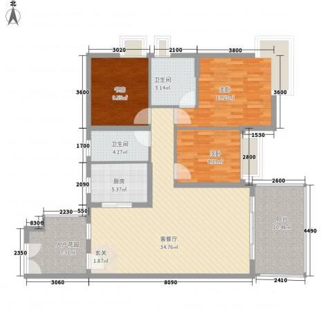 中天彩虹城3室1厅2卫1厨122.00㎡户型图