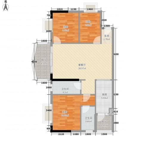 润宇豪庭3室1厅2卫1厨81.71㎡户型图