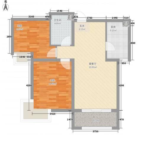 德易居2室1厅1卫1厨85.00㎡户型图