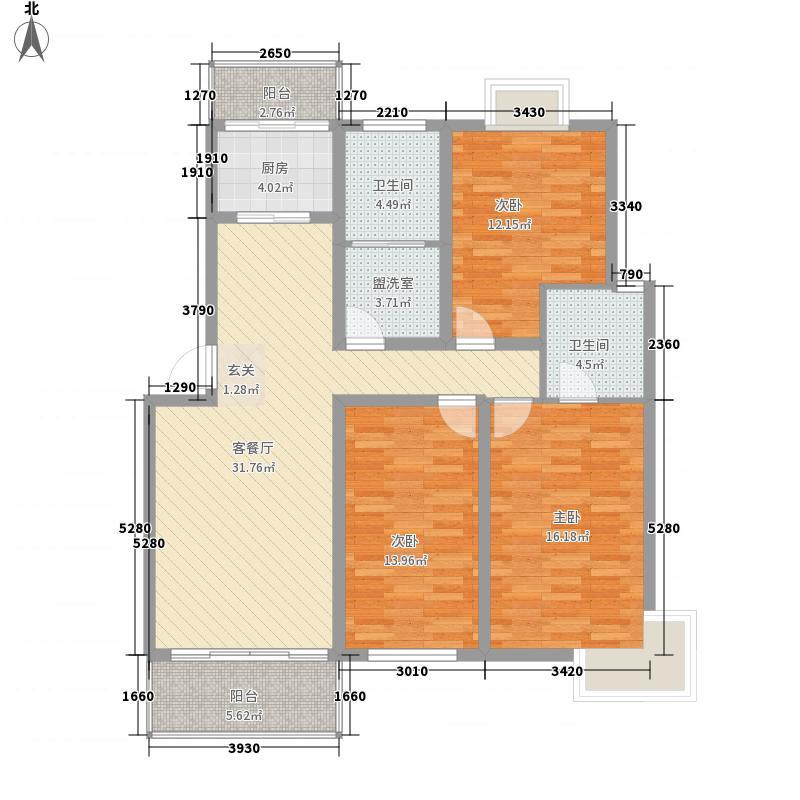 仁兴花城142.00㎡B1户型3室2厅2卫1厨
