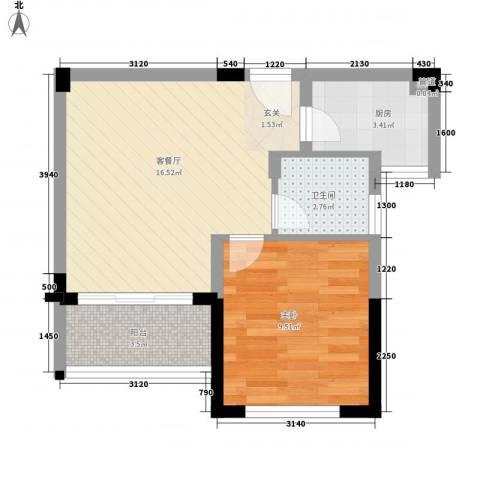 颐养居1室1厅1卫1厨41.71㎡户型图