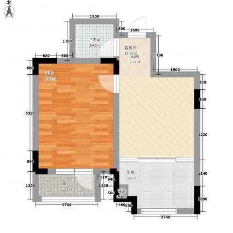 安达天下1室1厅1卫1厨53.00㎡户型图