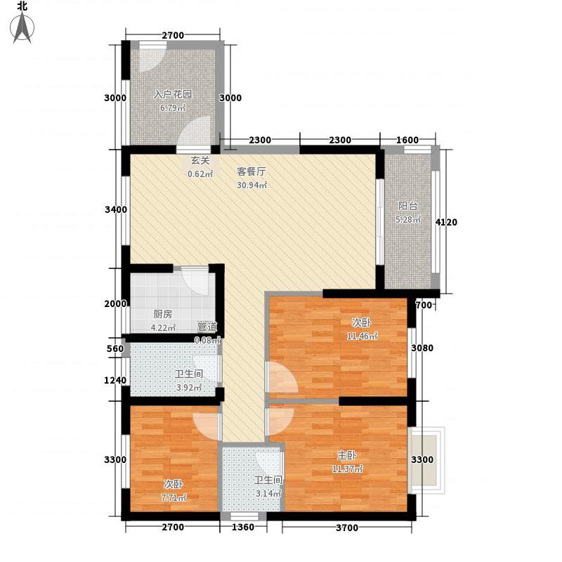 中建华府113.00㎡项目F6―06户型3室2厅2卫1厨