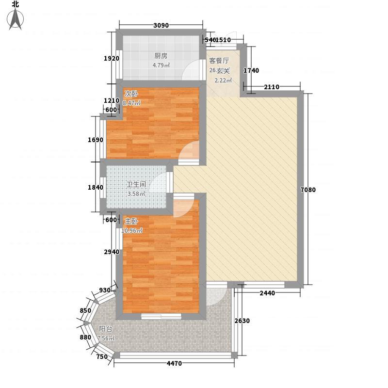 天明森林国际公寓2A户型2室2厅1卫1厨