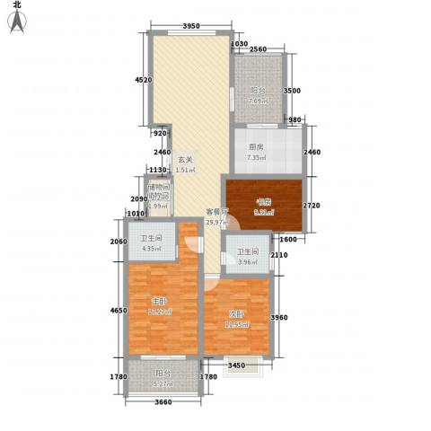荆溪福院十二园3室1厅2卫1厨143.00㎡户型图
