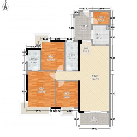 润宇豪庭3室1厅2卫1厨146.00㎡户型图