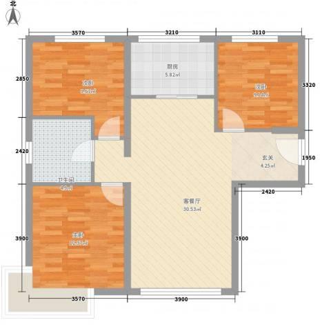 政成公寓3室1厅1卫1厨101.00㎡户型图