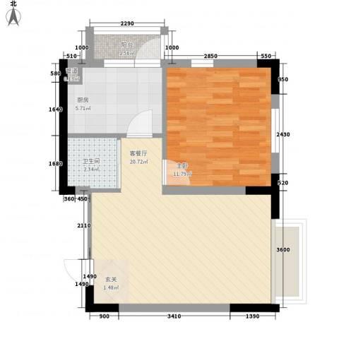 安达天下1室1厅1卫1厨59.00㎡户型图