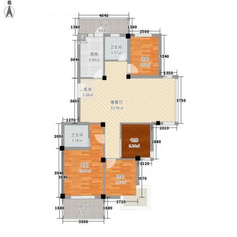 河风丽庭4室1厅2卫1厨126.00㎡户型图