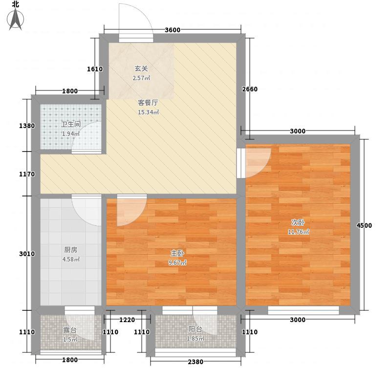 廊桥国际60.18㎡廊桥国际户型图B型2室1厅1卫户型2室1厅1卫