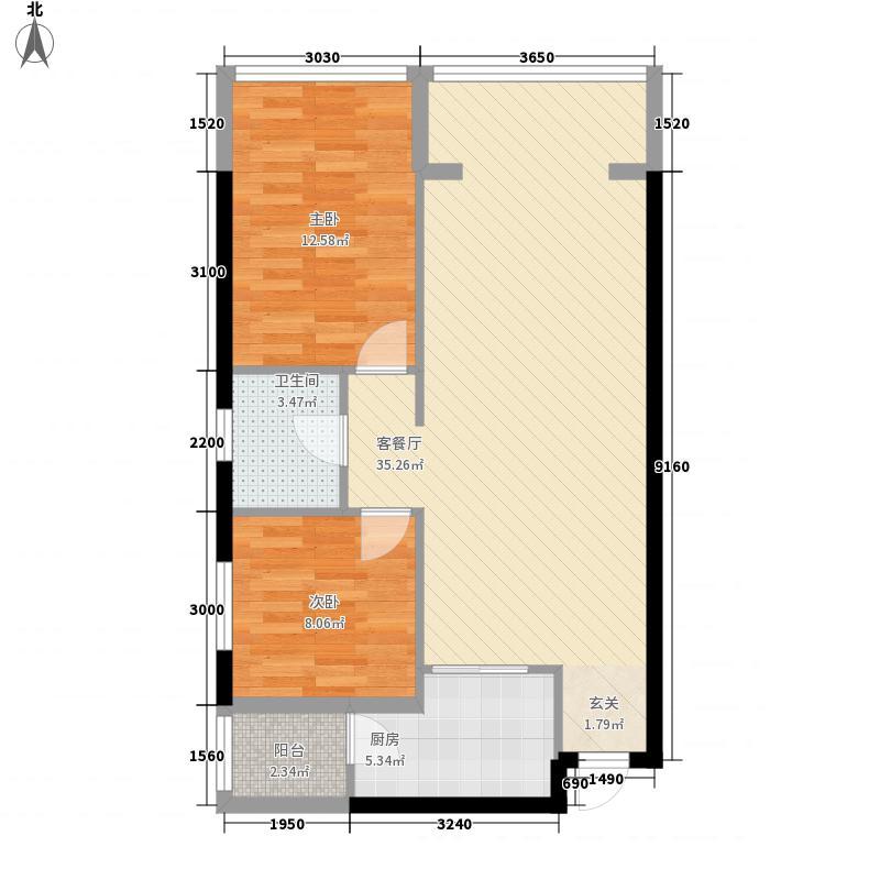 锦江钻石LIFE78.52㎡B栋B11户型2室2厅1卫
