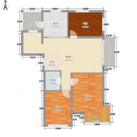 廊桥国际3室1厅1卫1厨110.00㎡户型图