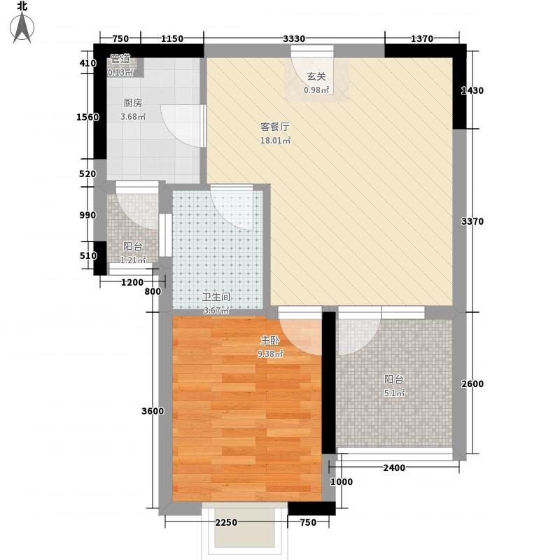 中建华府55.30㎡项目F5―08户型1室2厅1卫1厨
