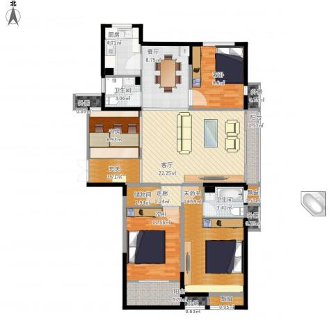 典雅花园3室2厅2卫1厨146.00㎡户型图