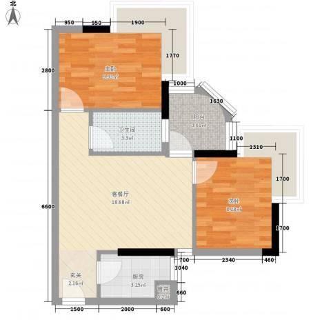 润宇豪庭2室1厅1卫1厨46.65㎡户型图