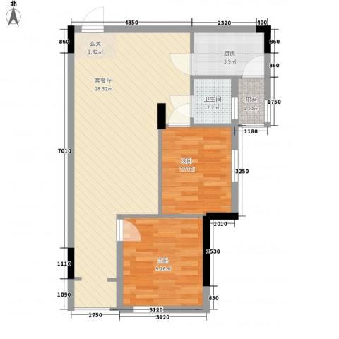 锦江钻石LIFE2室1厅1卫1厨72.00㎡户型图