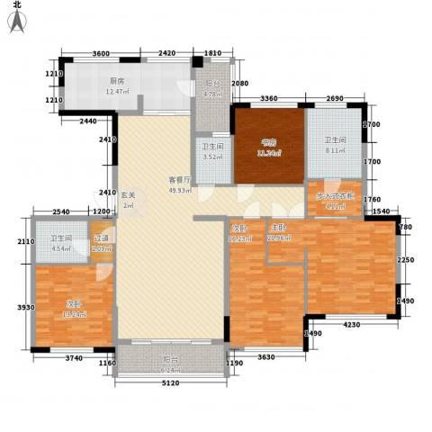 金地澜悦4室1厅3卫1厨157.56㎡户型图