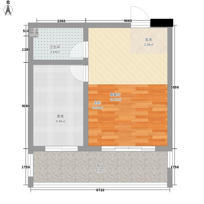 香江月精品名座一室一厨35.32平方米户型1室1卫1厨