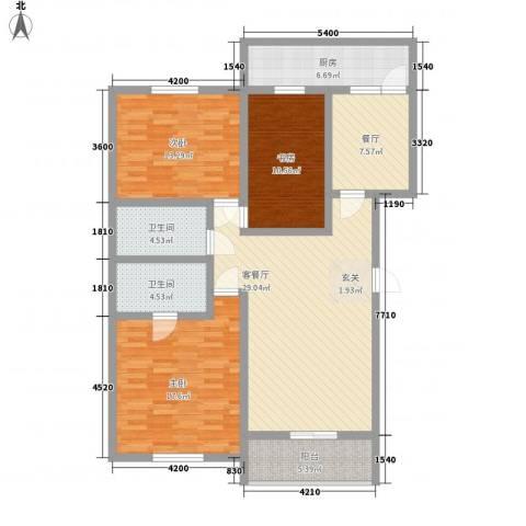 大唐龙庭(大唐智能花园三期)3室2厅2卫1厨99.19㎡户型图