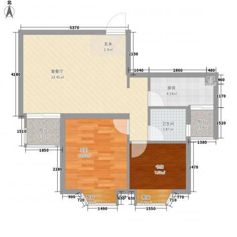 高浪嘉园2室1厅1卫1厨80.00㎡户型图