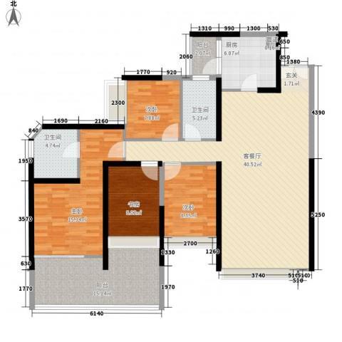 金沙湾花园4室1厅2卫1厨160.00㎡户型图