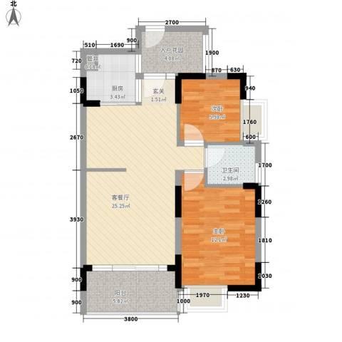 伟豪都市印记2室1厅1卫1厨86.00㎡户型图