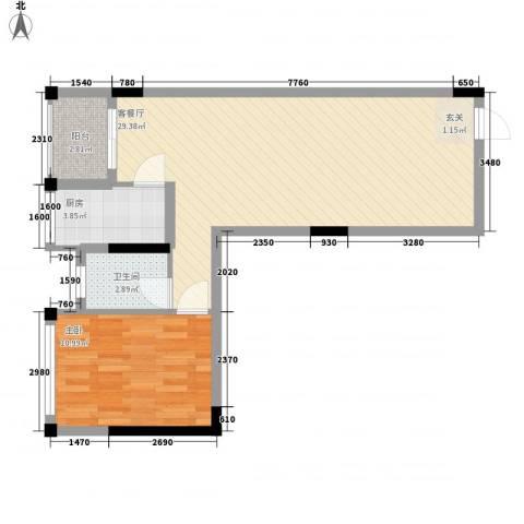 锦江钻石LIFE1室1厅1卫1厨68.00㎡户型图