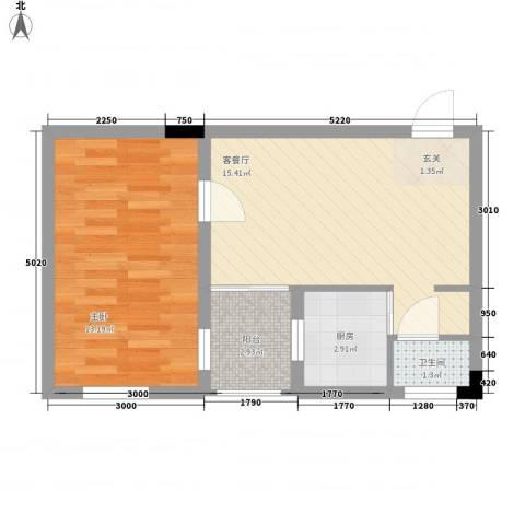 锦江钻石LIFE1室1厅1卫1厨35.74㎡户型图