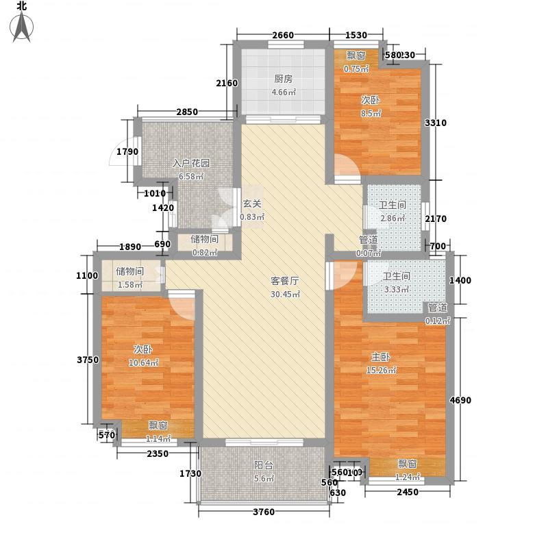 海陵首府13.10㎡一期标准层B2户型3室2厅2卫1厨