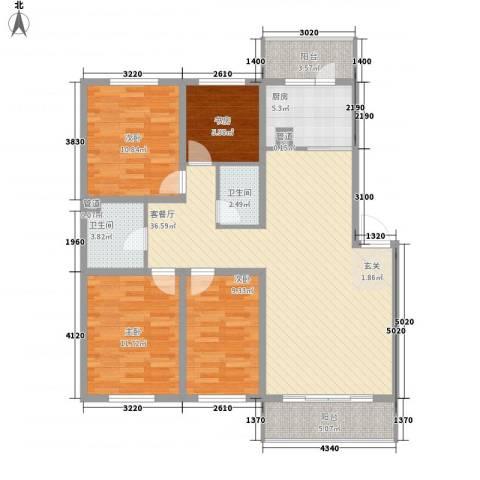 金泰嘉园4室1厅2卫1厨135.00㎡户型图