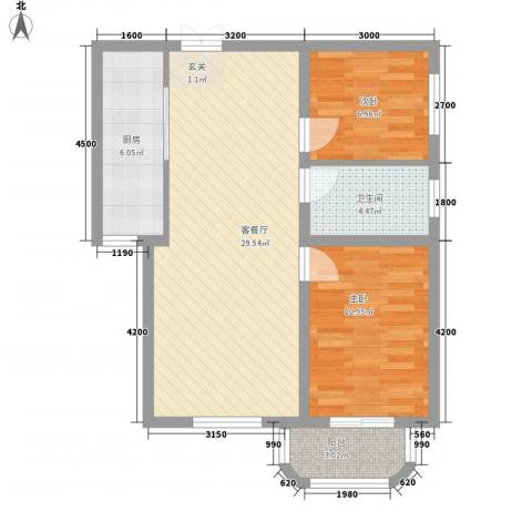 屿后南里2室1厅1卫1厨84.00㎡户型图