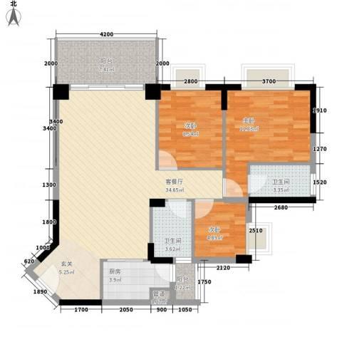 四洲城市经典3室1厅2卫1厨79.68㎡户型图