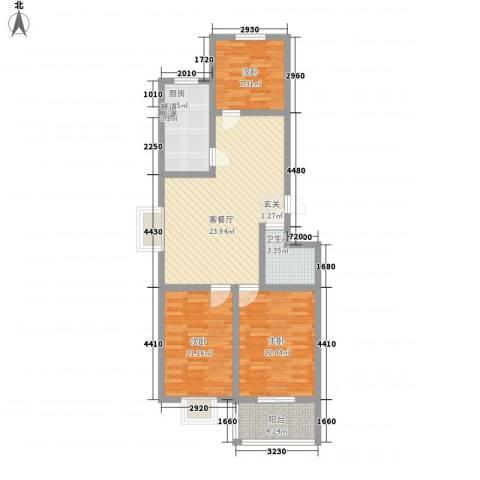 贵和苑社区3室1厅1卫1厨68.41㎡户型图