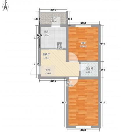 金泰嘉园2室1厅1卫1厨56.00㎡户型图