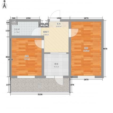 金泰嘉园2室1厅1卫1厨59.00㎡户型图