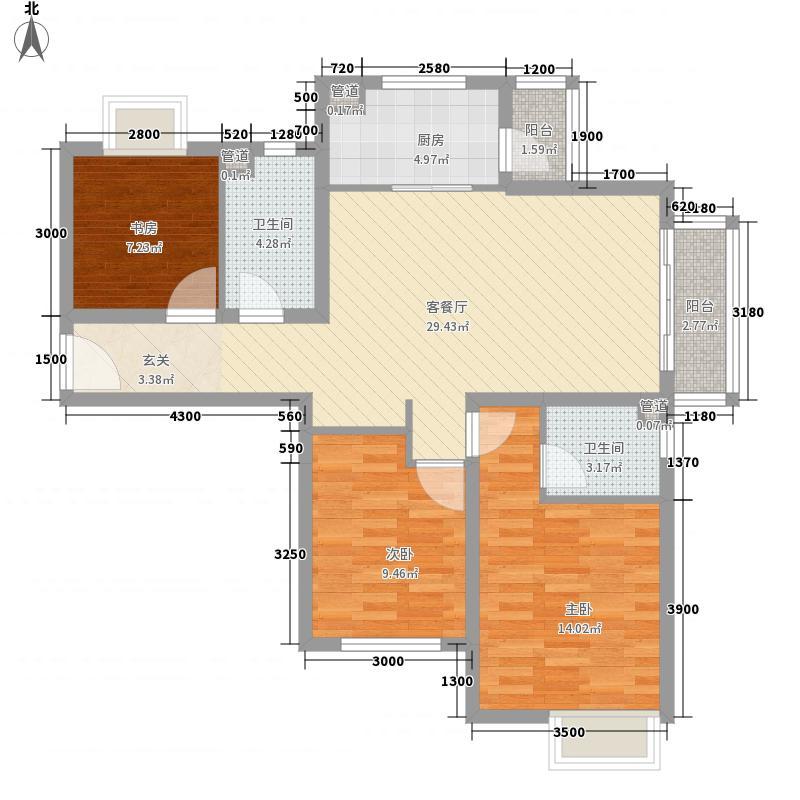 保利百合花园116.00㎡一期5#D7户型3室2厅2卫1厨