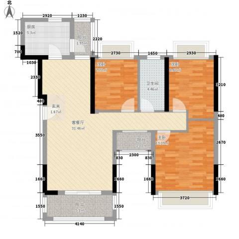 理想0769沁园别墅3室1厅1卫1厨115.00㎡户型图