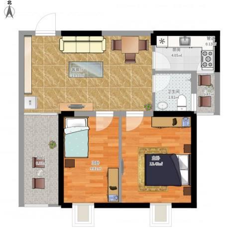 红海名仕公馆2室1厅1卫1厨81.00㎡户型图