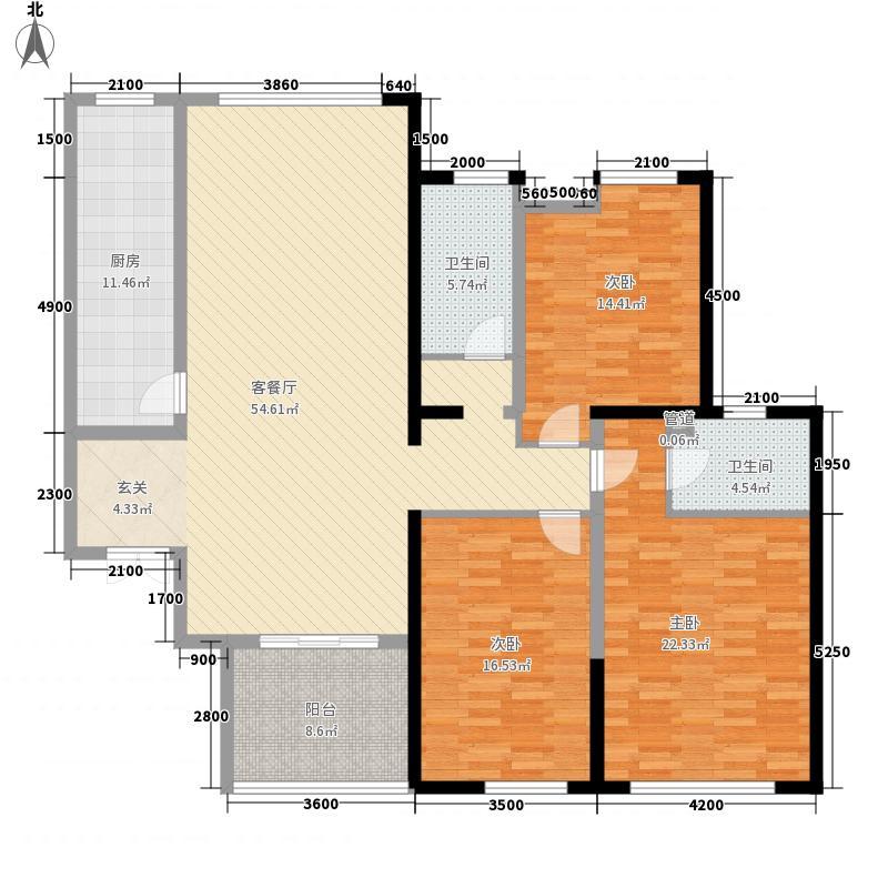 世纪华庭2.30㎡C5户型3室2厅2卫1厨