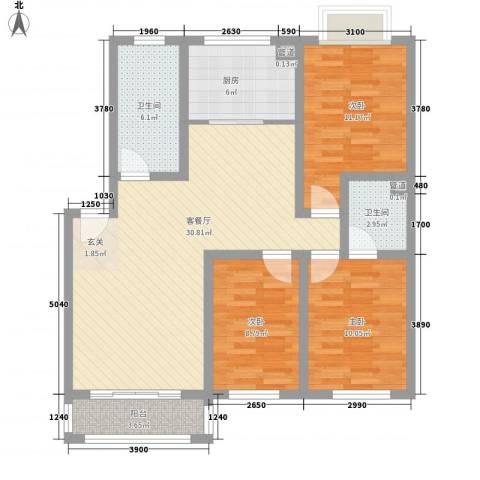 汇源华庭3室1厅2卫1厨116.00㎡户型图
