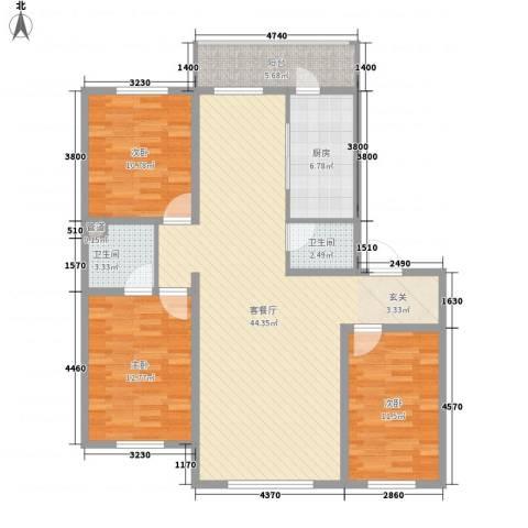 金泰嘉园3室1厅2卫1厨137.00㎡户型图
