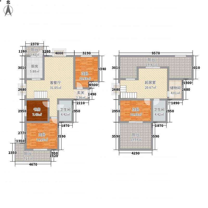 易城173.40㎡1-3#复式F户型4室2厅2卫1厨