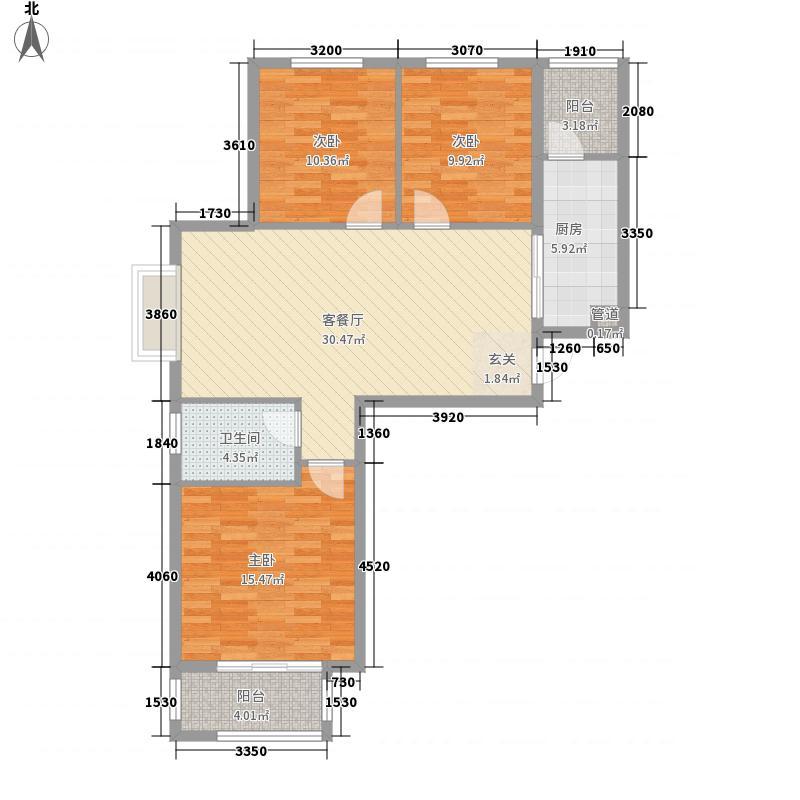 裕华光合世界117.88㎡2#8#J1户型3室2厅1卫1厨