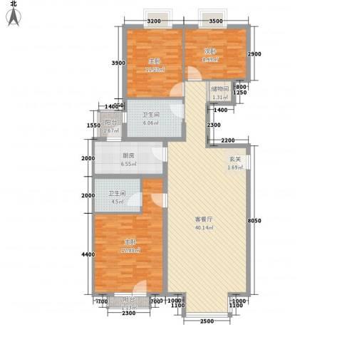 东方花城3室1厅2卫1厨133.00㎡户型图