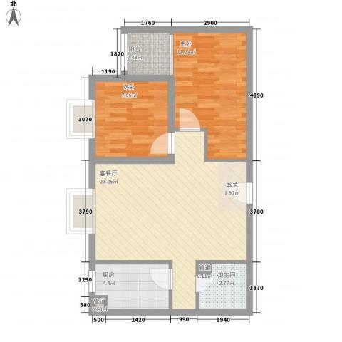 御龙庭2室1厅1卫1厨77.00㎡户型图
