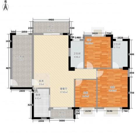 鸿福苑3室1厅2卫1厨161.00㎡户型图