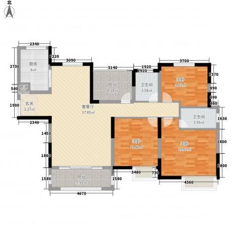 中建・城中壹号公馆3室1厅2卫1厨143.00㎡户型图