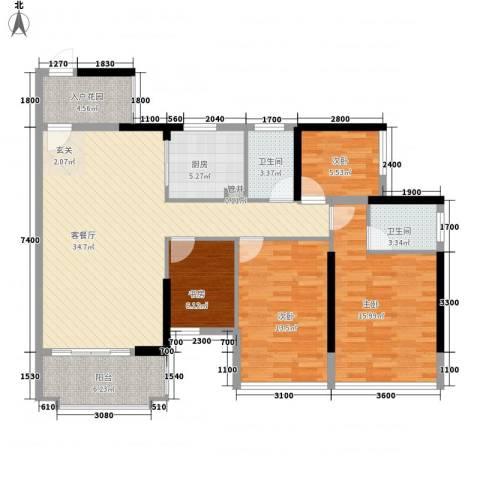 盛天公馆4室1厅2卫1厨140.00㎡户型图